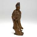 Guan yin wood carving possibly zitan wood 20th c artist signed 12 14