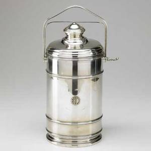 Cartier art deco sterling silver canteenform ice bucket with locking lid and handle 20th c marked lebkuecher  co newark 427 ot 13 12