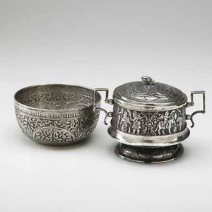 Two asian silver bowls covered bowl with persian decoration chinese export bowl with rococo repousse both ca 1900 254 ot wider 7 beyond handles