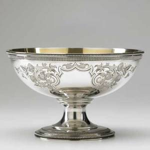 American silver footed centerbowl by william gale jr  co ca 1860 bright cut cartouches with strawberries applied borders interwoven monogram 225 ot 5 12 x 8 34