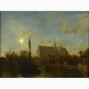 Elias pieter van bommel dutch 18191890 oil on canvas mounted on panel haarlem at twilight framed signed 10 x 17