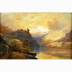 Clarence henry roe british 18501909 oil on canvas of a landscape with classical ruins framed signed clarence roe 8 x 12 together with a 19th c oil on canvas of a moonlit coastal scene fr