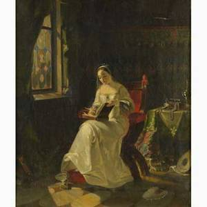 19th c european genre scene oil on canvas of interior with courtly lady reading framed 17 x 15