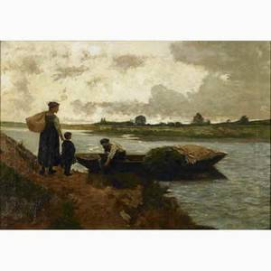 J sauer jr american early 20th c oil on canvas of a boatman at work cutting peat framed signed and dated 1908 20 x 28 provenance private collection philadelphia