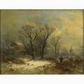 George h durrie american 18201863attrib oil on canvas of a winter scene with figure framed signed 10 x 13