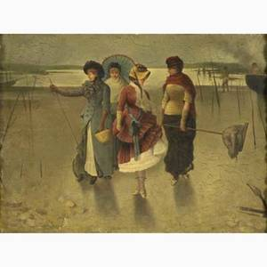 19th c french genre painting oilonpanel exotic scene with ladies and fishermen framed signed perron 9 x 12