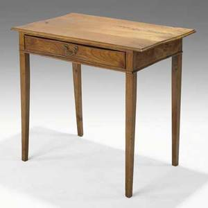 Continental library table fruitwood single drawer 18th c 30 x 33 12 x 20 12