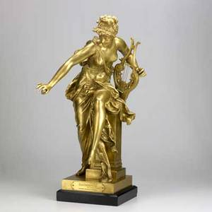 Alberternest carrierbelleuse french 18241887 tiffany  co dore bronze sculpture of a female lute player late 19th c marked 27