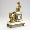 French dore bronze and marble figural clock 19th c signed dutertre paris 16 x 10 x 6 14