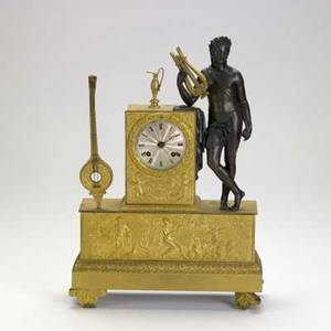 Dore bronze figural clock brown patinated figure silvered dial 19th c 16 x 11 14 x 4