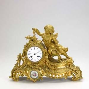 French dore bronze figural clock cherub pouring water 19th c 12 14 x 15 x 5