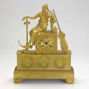 French dore bronze figural clock female figure with anchor and paddle early 19th c signed baratte au havre 16 x 12 x 4 14
