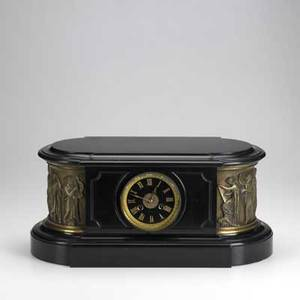 Tiffany  co french black marble clock with classical scenes in relief and bronze mountings ca 1900 dial signed 18 x 8 x 9