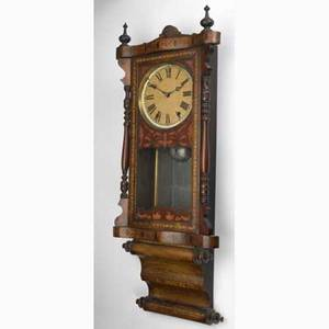 Wall regulator clock walnut case with inlay time and strike ca 1900 jerome  co label 38