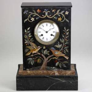 French pietra dura mantle clock marble case bird and vine decoration time and strike movement 19th c 10 x 17 x 6 34