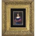 Painting on porcelain woman in a blue dress gilded frame late 19thearly 20th c unmarked 3 12 x 5