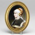 Painting on porcelain woman with fur collar and pendant necklace 19th20th c unmarked 5 x 7