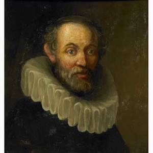 20th c portrait after old master oil on panel portrait of a danish vicar in traditional cassock with ruff framed 17 x 17