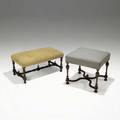 William and mary style benches both with mahogany frames 20th c larger 20 x 21 sq