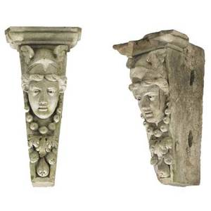 Architectural elements two keystones carved in high relief with face of athena 19th20th c 27 x 14 x 15