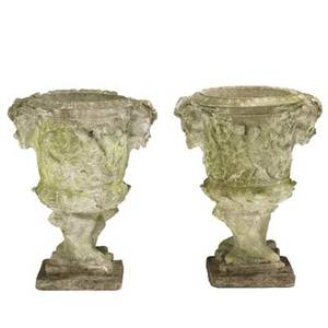 Pair of garden urns molded concrete with classical greek design early 20th c 23 x 18 x 14