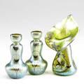 Loetz style three silver overlaid art glass vases 20th c tallest 7