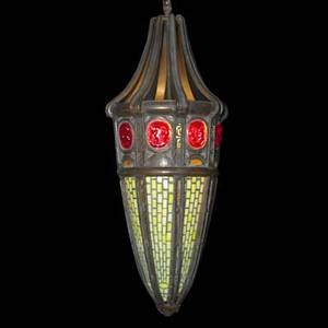 Leaded glass chandelier cylindrical with red glass jewels 20th c 11 x 32