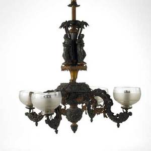 Victorian gas chandelier spelter and brass construction classical figures under palm trees electrified 19th c 51 x 24 dia