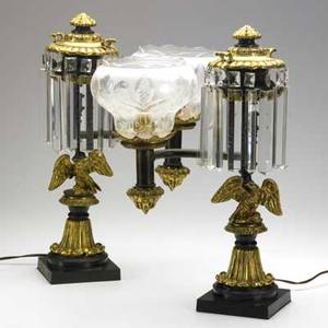 Pair of reproduction argand lamps eagle figures on posts electrified early 20th c 20