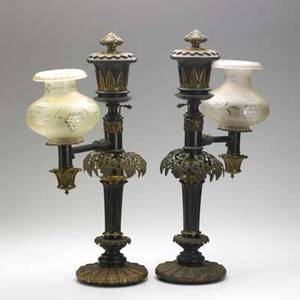 Pair of argand lamps pair of single lamps electrified mid19th c signed cox new york 23