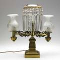 Argand lamp double burner electrified mid19th c signed bell baltimore 20 12