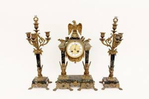 Marble  Bronze Clock  Garniture