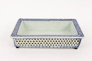 Chinese Porcelain Celadon  Blue Bordered Dish