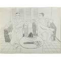 David hockney british b 1937 christopher isherwood and don bachardy 1976 lithograph framed signed dated and numbered 2396 28 34 x 37 sheet printer mark stock publisher gemini ge