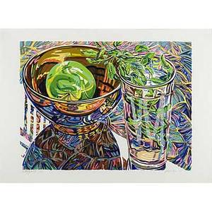Janet fish american b 1938 four works of art butterfly wings 1991 lithograph in colors framed signed dated titled and numbered 2761 21 12 x 29 12 sheet rose bowl 1992 lithograp