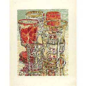 Janet fish american b 1938 four works of art untitled glasses from the jewish museum 1975 screenprint in colors framed signed dated and numbered 36144 37 x 29 12 sheet bananas 1