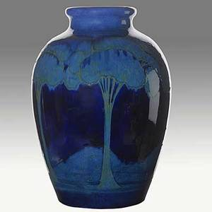 Moorcroft large moonlit blue vase c 191829 stamped made in england moorcroft m94 green signature remnant of paper label 15 12 x 10 12