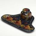 Moorcroft pomegranate inkwellpentray 192528 minor fleck to rim stamped moorcroft made in england and paper label 2 34 x 9 x 6