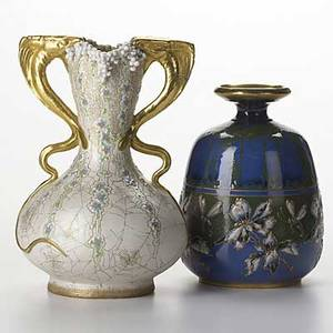 Riessner stellmacher  kessel two amphora porcelain vessels with enameled decoration red rstk stamp on blue austria amphora crown on other 7 14 and 9 14