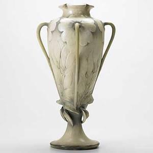 Riessner stellmacher  kessel tall amphora ceramic four handled vase see condition report 17 x 7 12
