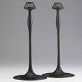 Jarvie pair of bronze art nouveau candlesticks unmarked 13 12 x 6