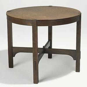 Gustav stickley lamp table no 645 remnant of paper label red decal to leg 29 x 34 34