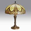 Williamson table lamp with leaded glass shade unmarked 27 14 x 20