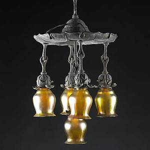 Quezal copper chandelier with art glass shades shades signed quezal total 37 12 x 15 shades 5 14 x 4