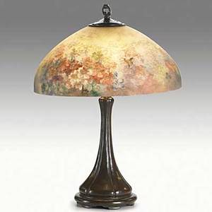 Handel bronze table lamp with reversepainted floral shade shade stamped handel patd no base stamped handel 24 12 x 18