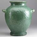 Fulper large hammered cucumber matt green vase incised racetrack mark paper label 12 x 11 12