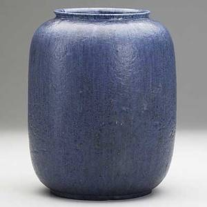 Grueby melonshaped matte indigo vase restoration to three small chips on rim grueby pottery stamp 36a 9 x 6 34