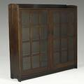 Gustav stickley doubledoor bookcase no 719 paper label and branded signature 56 14 x 59 34 x 13