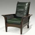 L and jg stickley onondaga shops slatted morris chair no 772 with leather dropin spring seat unsigned 39 x 32 12 x 35