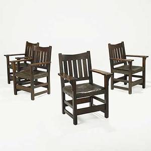 Gustav stickley four vback armchairs no 312 12 with japan leather paper label 36 x 26 x 20 12